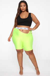 Cut The Culture Biker Shorts - Neon Yellow Angle 6