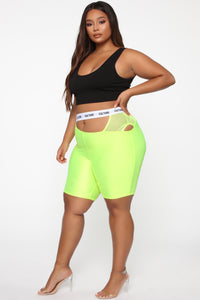 Cut The Culture Biker Shorts - Neon Yellow Angle 10