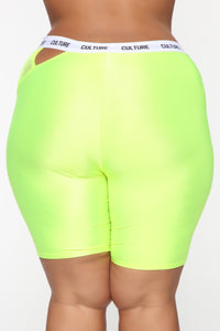 Cut The Culture Biker Shorts - Neon Yellow Angle 11