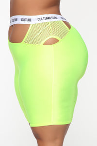 Cut The Culture Biker Shorts - Neon Yellow Angle 9