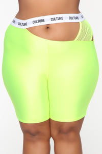 Cut The Culture Biker Shorts - Neon Yellow Angle 8