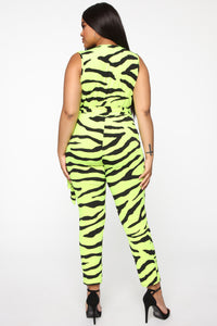 Disco Daze Jumpsuit - Lime Zebra