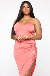 Kerena Crossback Midi Dress - Coral