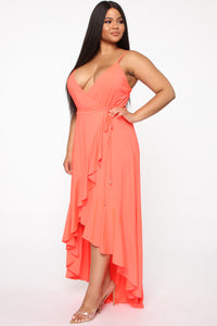 Every Strut Wrap Maxi Dress - Neon Coral