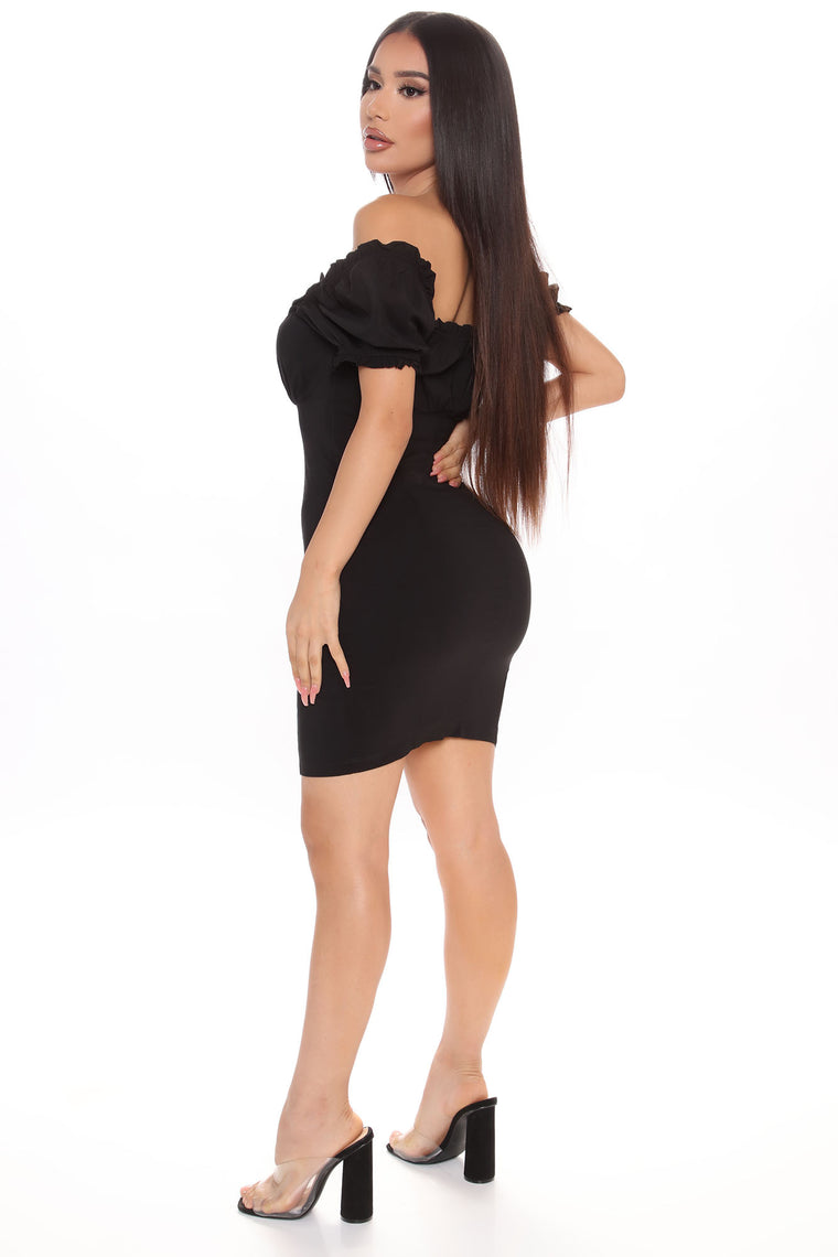 Clearly In A Ruche Mini Dress - Black