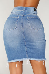 Jonie Distressed Denim Skirt - Medium