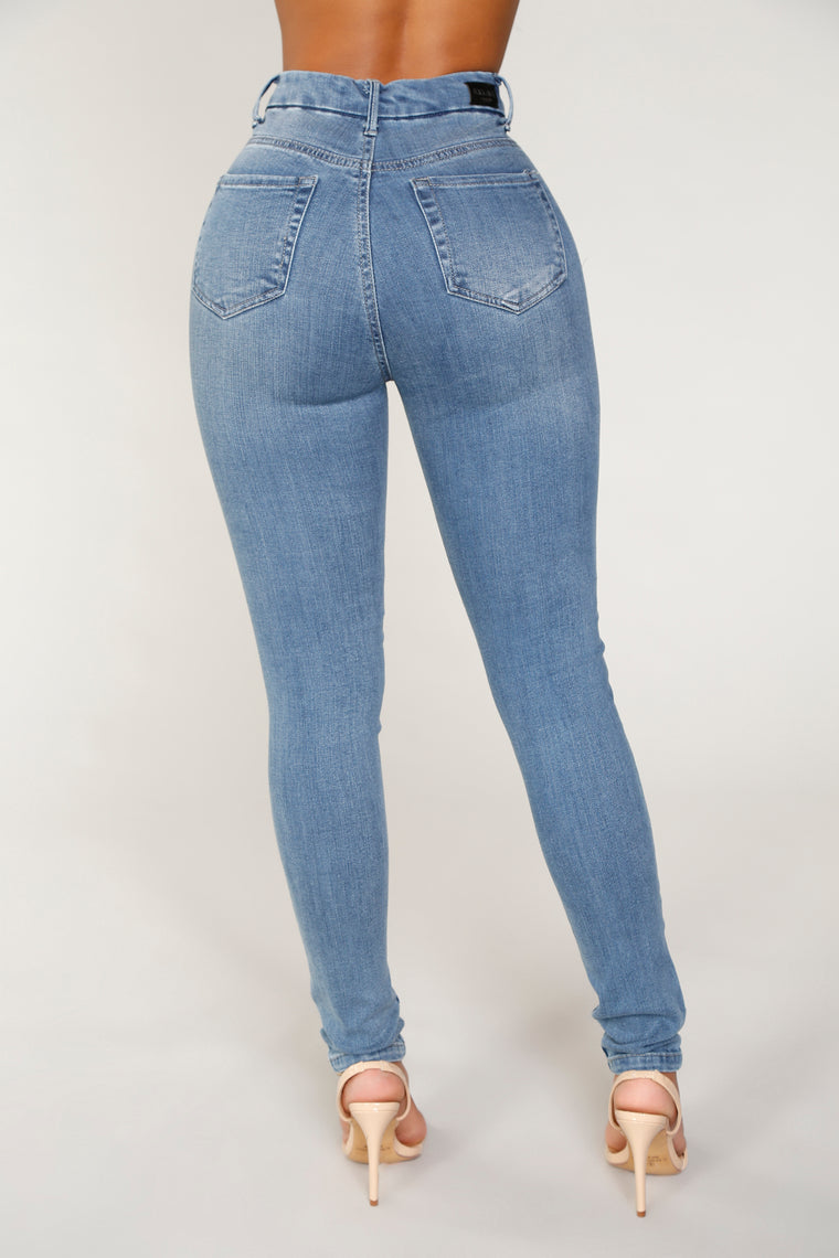 Angela Exposed Button Skinny Jeans - Medium Blue Wash