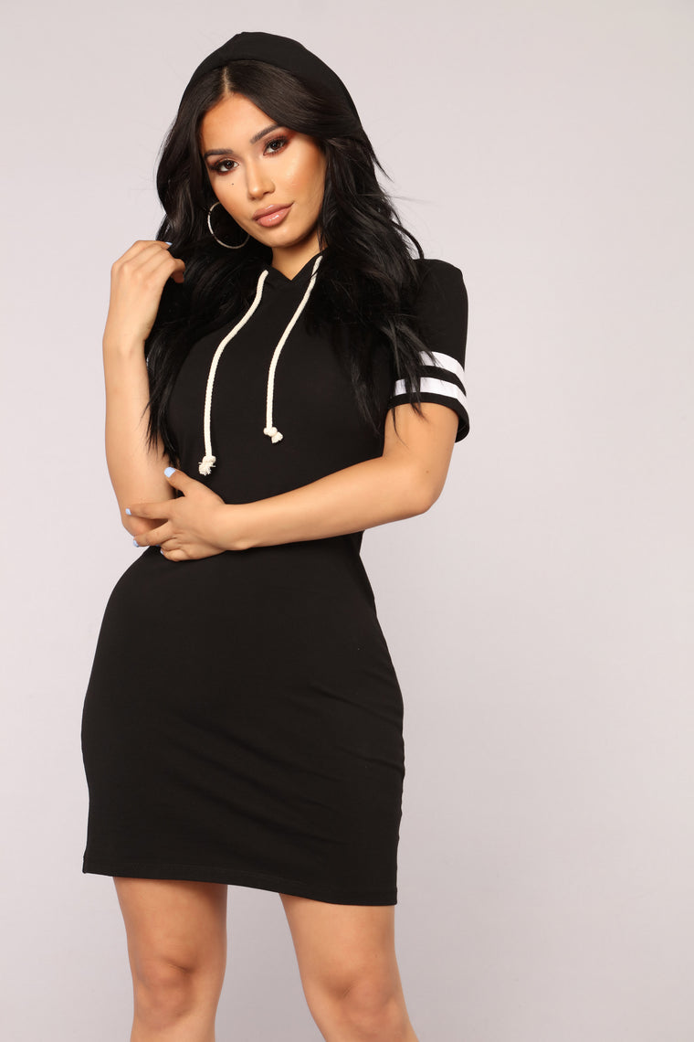 Playful Weekends Hoodie Dress - Black/White