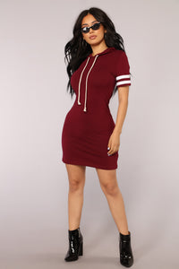 Playful Weekends Hoodie Dress - Burgundy