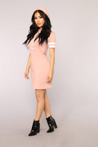 Playful Weekends Hoodie Dress - Mauve