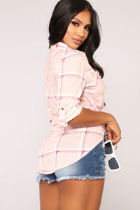 In My Lounge Plaid Top - Pink/Ivory