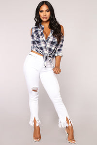 Katrina Cold Shoulder Plaid Top - Navy Combo