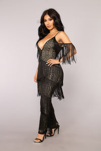 The Way You Walk Fringe Jumpsuit - Black/Nude Angle 3