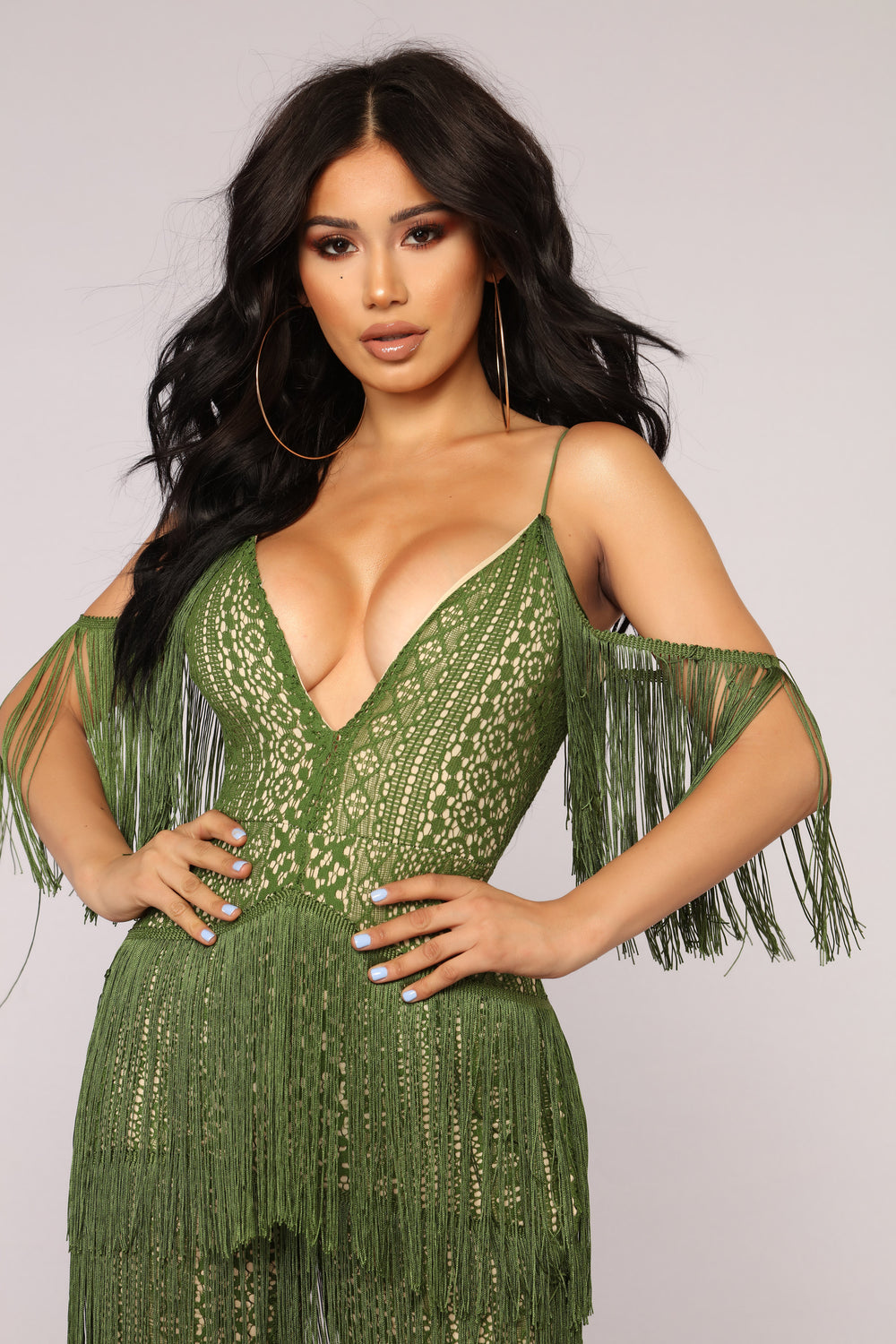 The Way You Walk Fringe Jumpsuit - Green