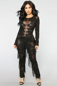 The Dramatics Fringe Jumpsuit - Black