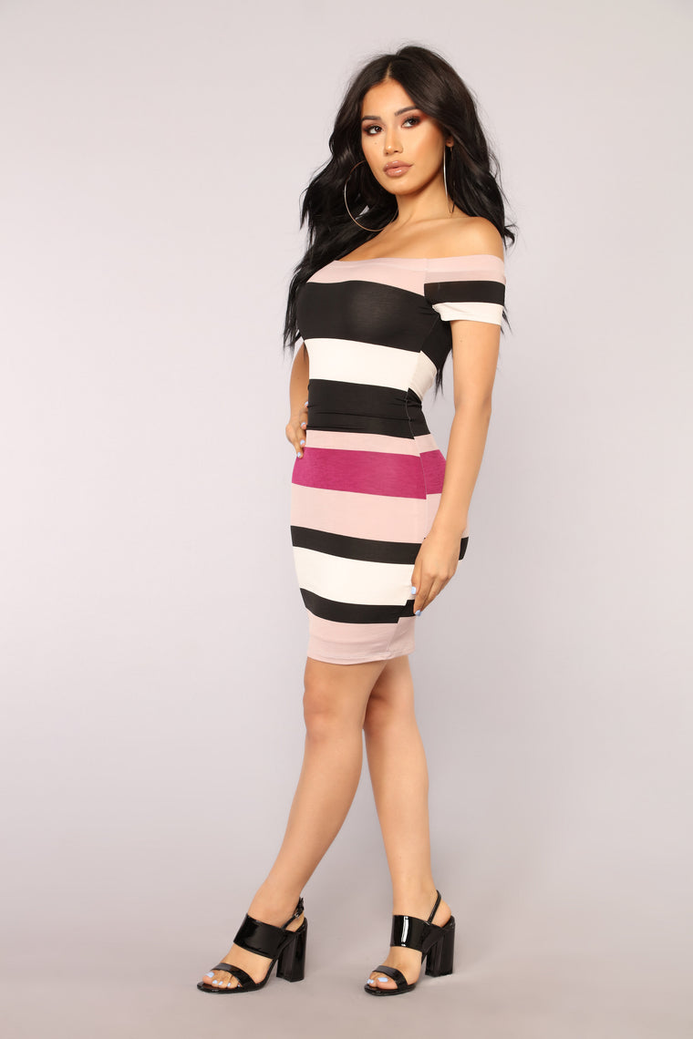 A Fine Line Striped Dress - Lavender