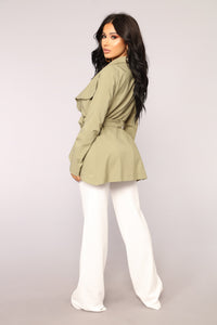 Rain Drops Ruffle Jacket - Light Olive