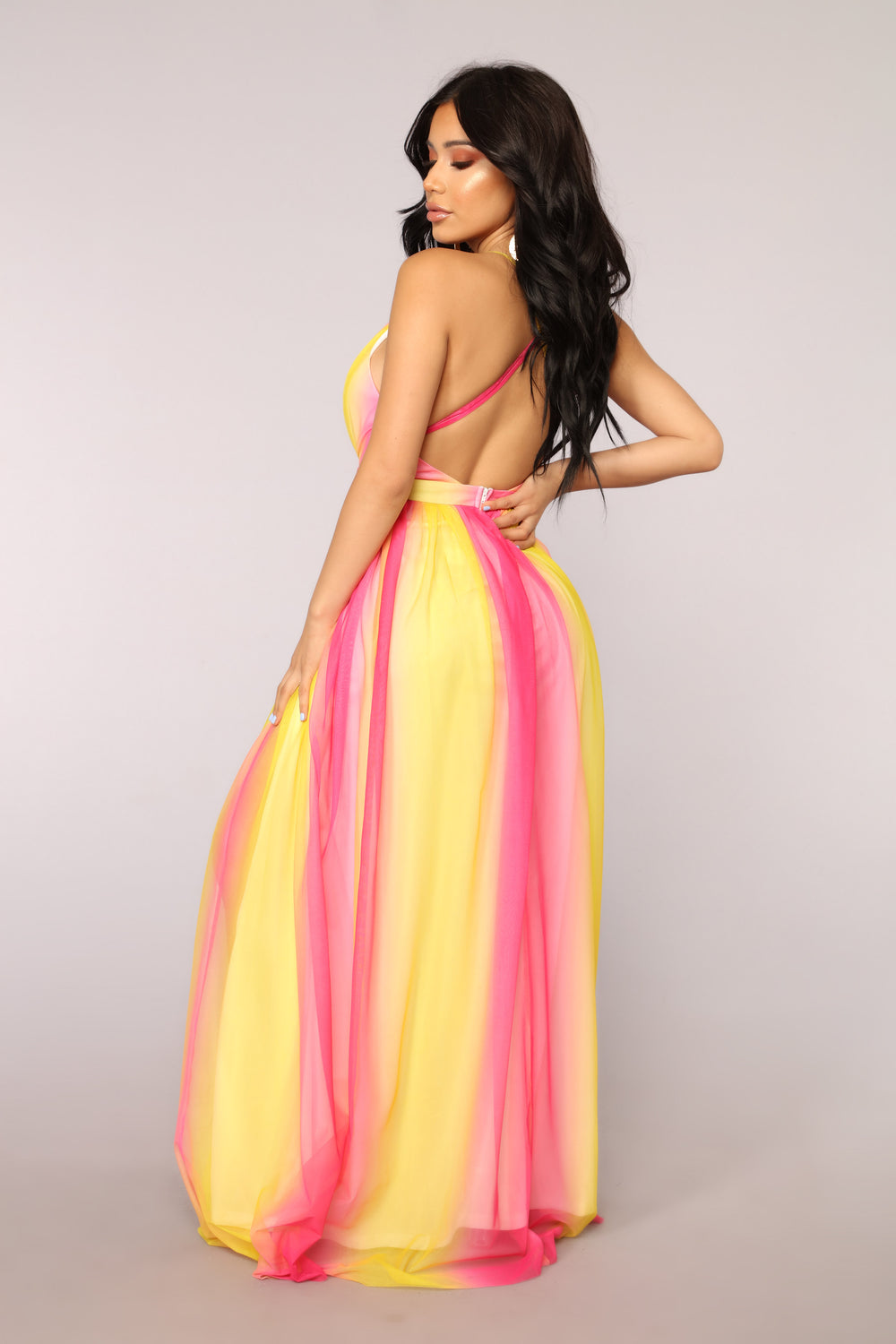 Hideaway Ombre Dress - Pink/Yellow