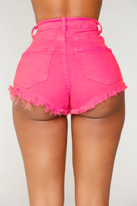 Walk Away With My Heart Denim Shorts - Neon Pink