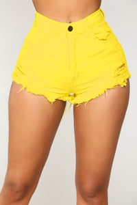 Walk Away With My Heart Denim Shorts - Neon Yellow
