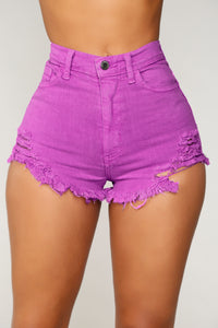 Walk Away With My Heart Denim Shorts - Neon Purple
