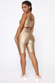 Nova Baesic Bermuda Biker Short In Glossy Fabric - Mocha