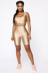 Nova Baesic Biker Short In Glossy Fabric - Dark Beige Angle 2