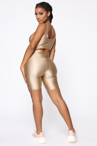 Nova Baesic Biker Short In Glossy Fabric - Dark Beige Angle 6