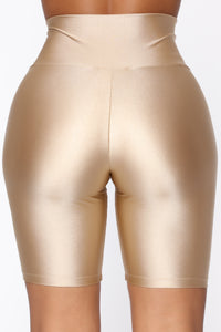 Nova Baesic Biker Short In Glossy Fabric - Dark Beige Angle 5