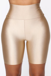 Nova Baesic Biker Short In Glossy Fabric - Dark Beige Angle 1