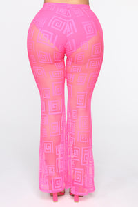 Stop And Stare Mesh Flare Pants - Neon Pink