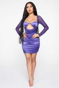 Always A Thrill Satin Mini Dress - Purple