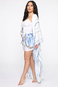 Vacation Time Tie Dye Kimono - White/Blue