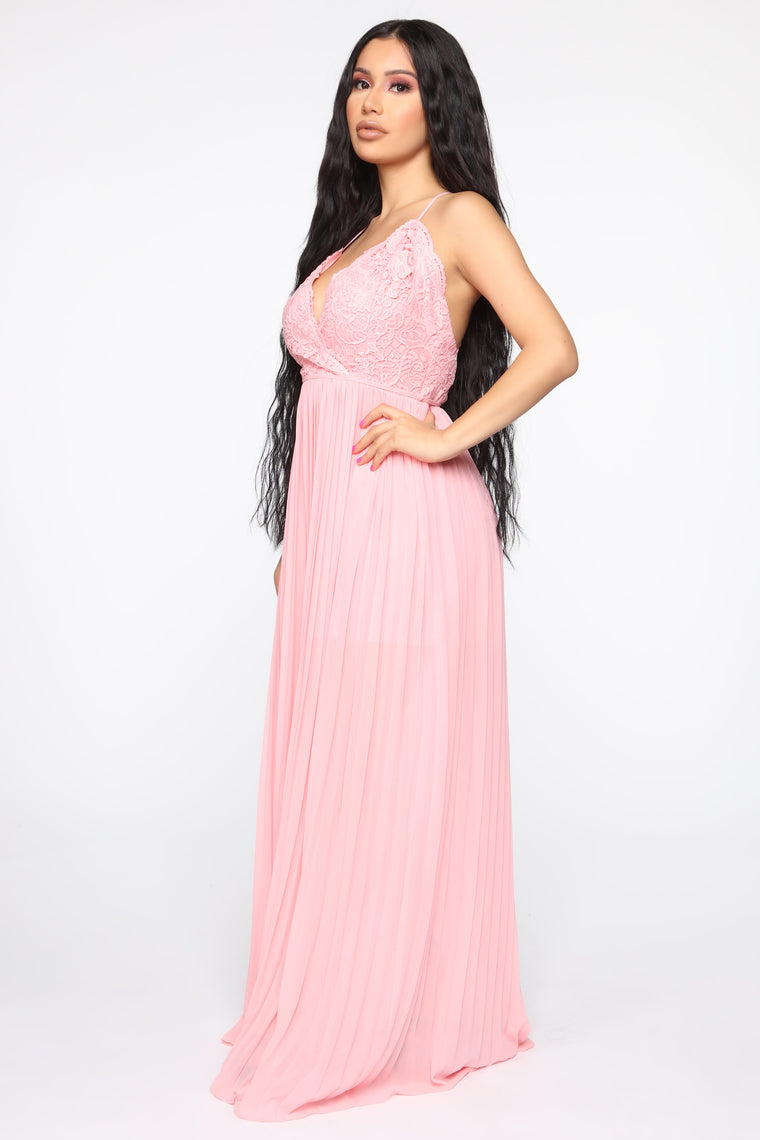 Ancient Love Story Pleated Maxi Dress - Blush