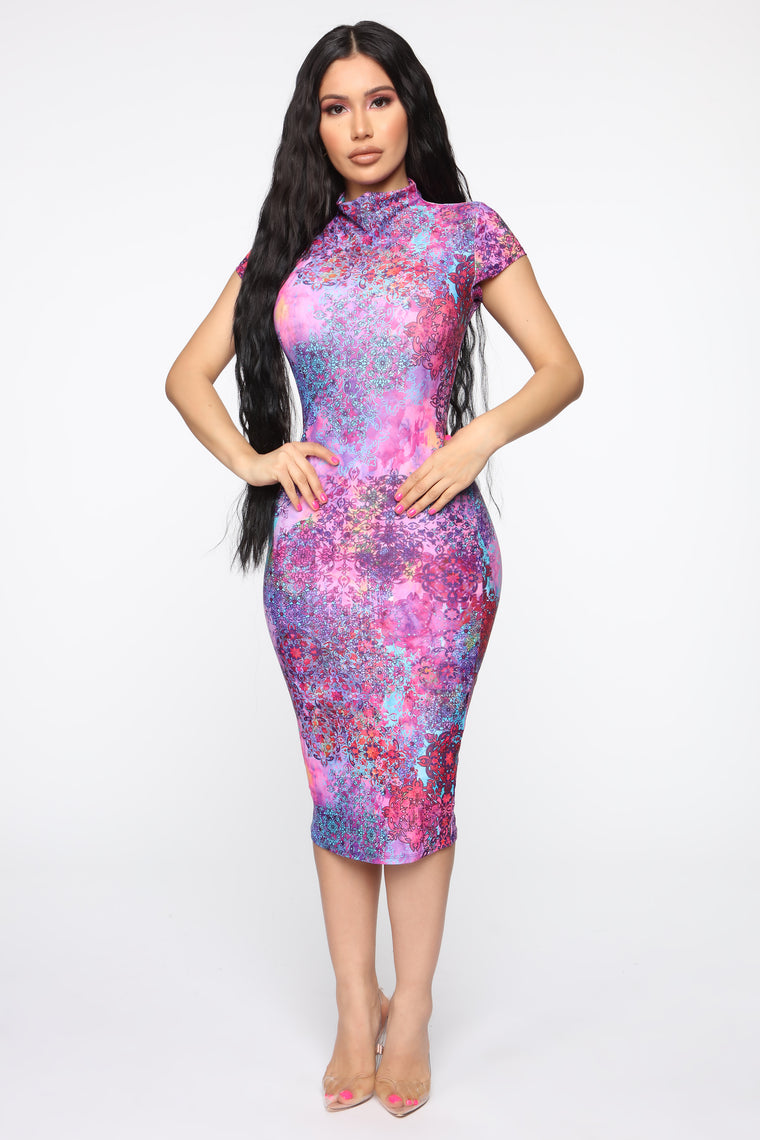 Dying To Know Your Name Midi Dress - Purple/Combo