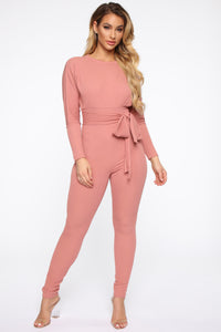 Down For The Lounge Jumpsuit - Marsala Angle 1