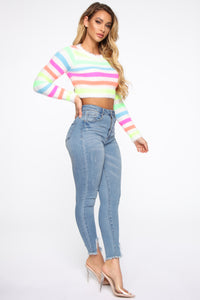 Striped On Stripes Fuzzy Sweater - MultiColor