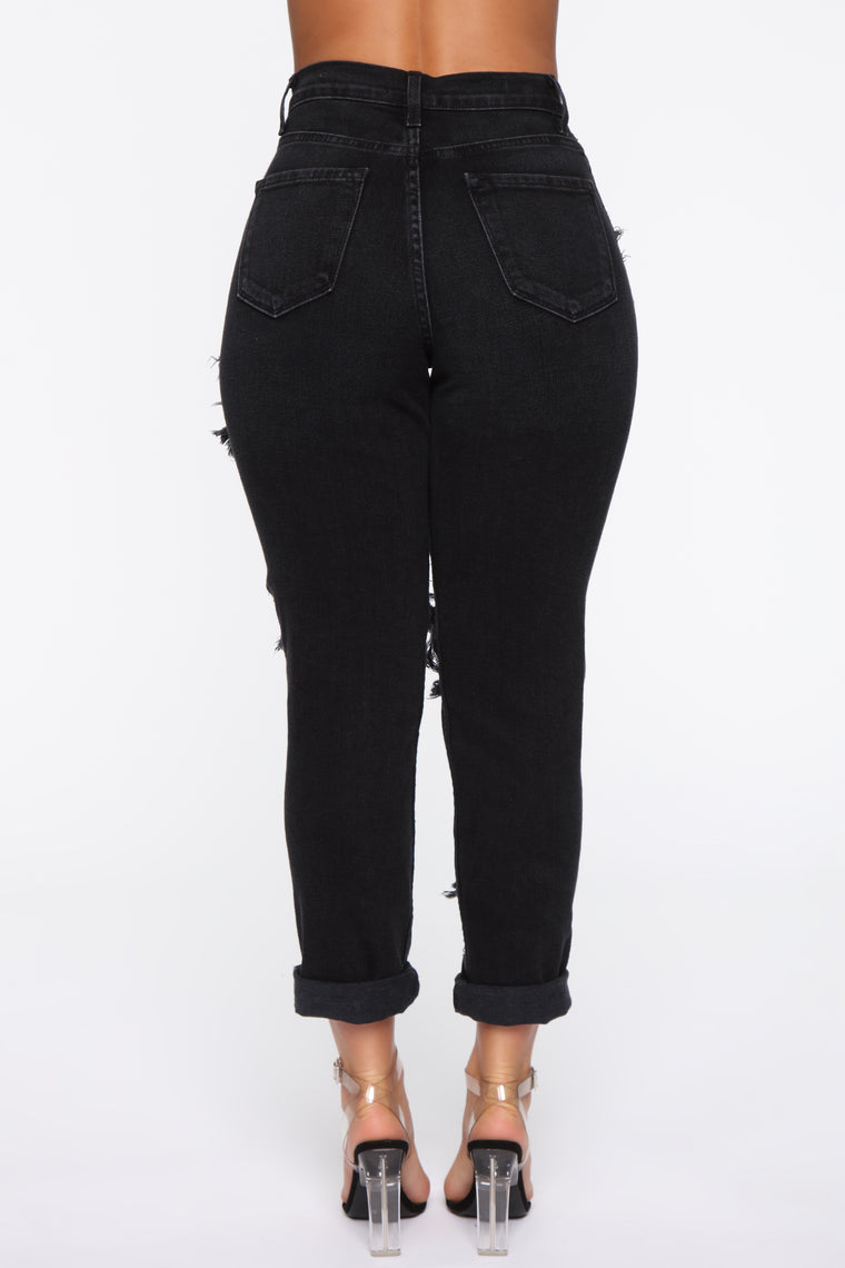 Driving Me Crazy Boyfriend Jeans - Black