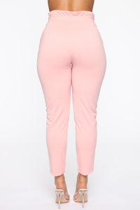 Got Tied Up Tie Waist Skinny Pants - Blush