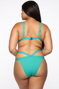 Meet Me At The Pool 2 Piece Swimsuit - Green/Combo Angle 8