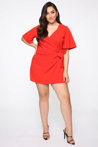 Thought Of You Romper - Tomato Red Angle 1