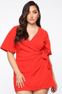Thought Of You Romper - Tomato Red Angle 2
