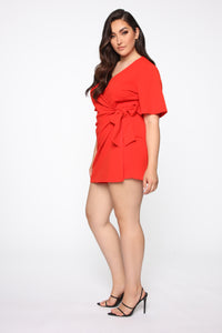 Thought Of You Romper - Tomato Red Angle 4