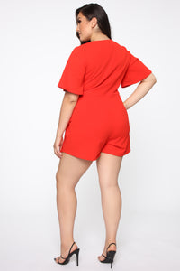 Thought Of You Romper - Tomato Red Angle 3