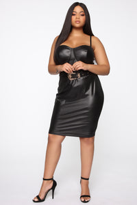Coming In Hot Faux Leather Midi Dress - Black Angle 5