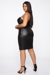 Coming In Hot Faux Leather Midi Dress - Black Angle 8