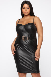 Coming In Hot Faux Leather Midi Dress - Black Angle 7