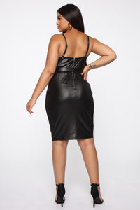 Coming In Hot Faux Leather Midi Dress - Black Angle 6