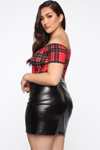 Plaid You Today Bodysuit - Red/combo