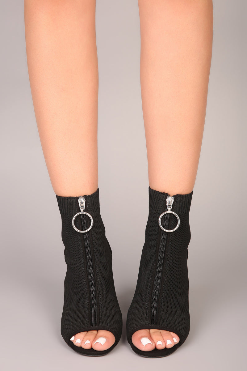 Reema Zip Up Bootie - Black